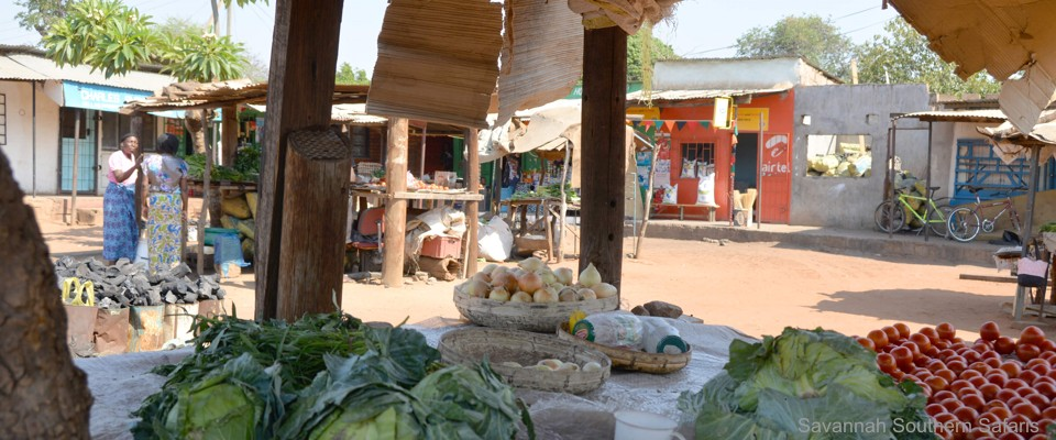 Traditioneller Dorfmarkt nahe Livingstone in Sambia